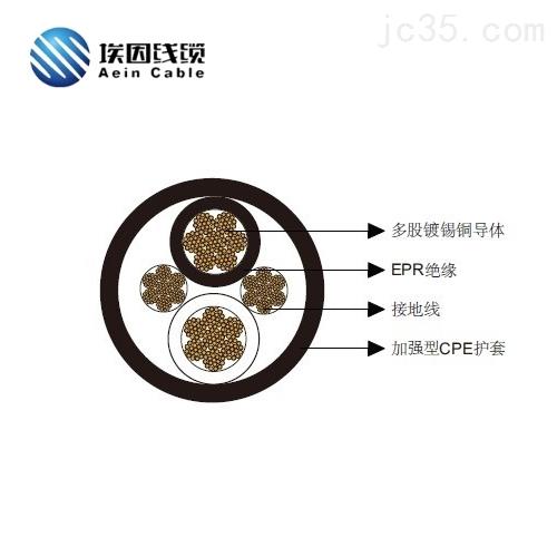 2*4/0两芯圆形移动电力电缆2kV